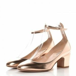 Valentino Rose Gold Mary Jane Ankle Strap 7.5 New